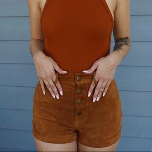 High Rise Suede Shorts